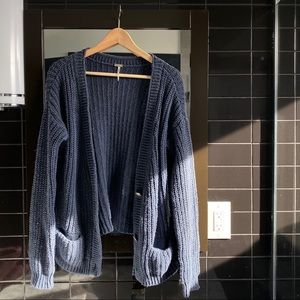 free people oversized navy beach cardigan
